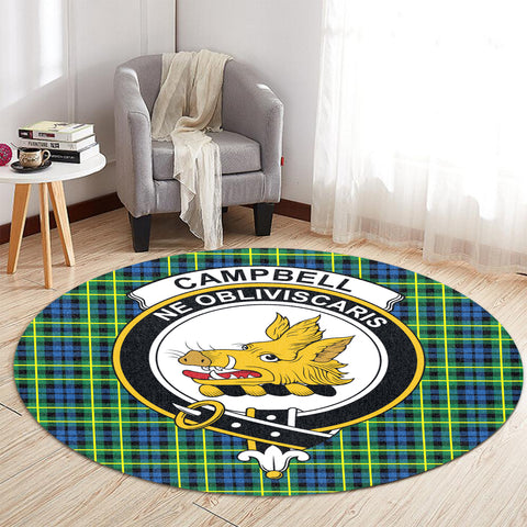 Image of Campbell of Breadalbane Ancient Clan Crest Tartan Round Rug