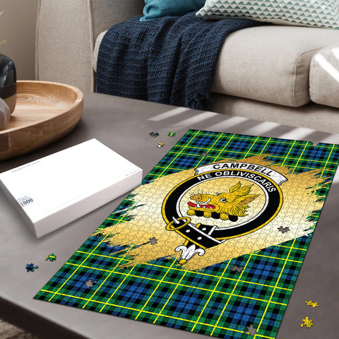 Image of Campbell of Breadalbane Ancient Clan Crest Tartan Jigsaw Puzzle Gold