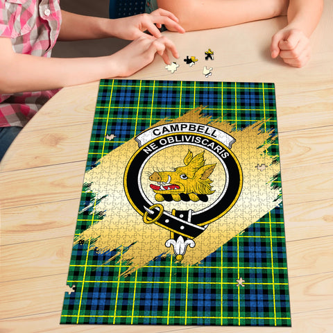 Campbell of Breadalbane Ancient Clan Crest Tartan Jigsaw Puzzle Gold