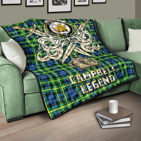 Image of Campbell of Breadalbane Ancient Clan Crest Tartan Scotland Clan Legend Gold Royal Premium Quilt K9