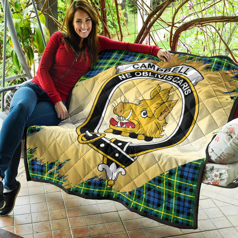 Image of Campbell of Breadalbane Ancient Clan Crest Tartan Scotland Gold Royal Premium Quilt K9