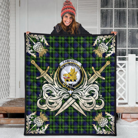 Image of Campbell of Breadalbane Modern Clan Crest Tartan Scotland Thistle Symbol Gold Royal Premium Quilt