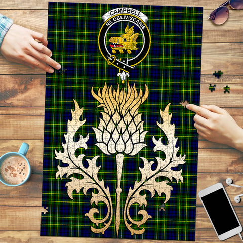 Campbell of Breadalbane Modern Clan Crest Tartan Thistle Gold Jigsaw Puzzle