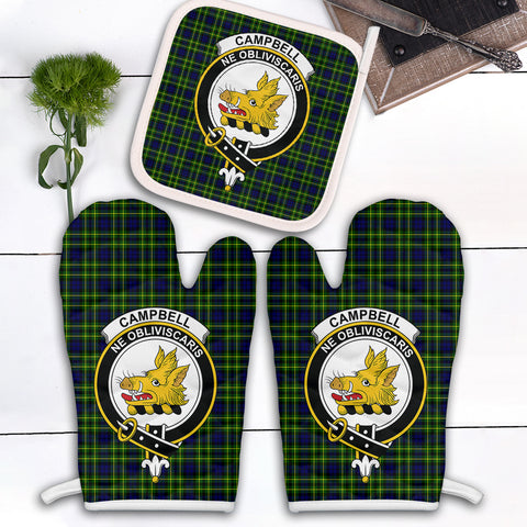 Image of Campbell of Breadalbane Modern Clan Crest Tartan Scotland Oven Mitt And Pot-Holder (Set Of Two)