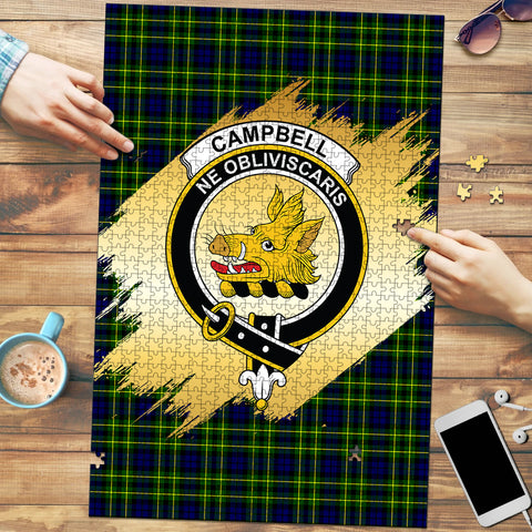 Image of Campbell of Breadalbane Modern Clan Crest Tartan Jigsaw Puzzle Gold