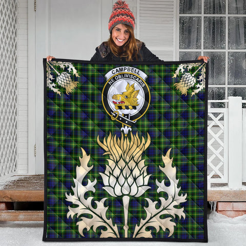Image of Campbell of Breadalbane Modern Clan Crest Tartan Scotland Thistle Gold Royal Premium Quilt