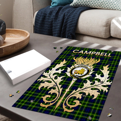 Campbell of Breadalbane Modern Clan Name Crest Tartan Thistle Scotland Jigsaw Puzzle