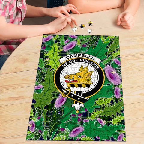Image of Campbell of Breadalbane Modern Clan Crest Tartan Thistle Pattern Scotland Jigsaw Puzzle