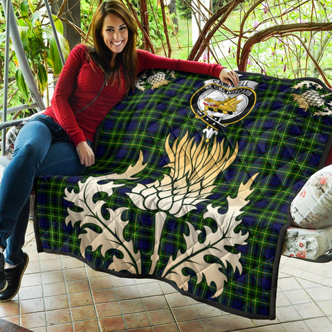 Image of Campbell of Breadalbane Modern Clan Crest Tartan Scotland Thistle Gold Royal Premium Quilt K9