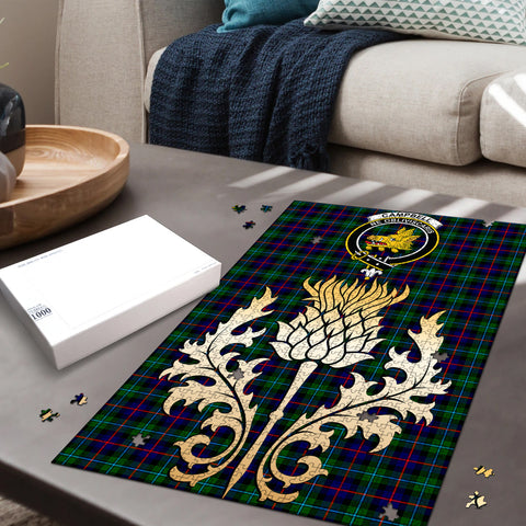 Campbell of Cawdor Modern Clan Crest Tartan Thistle Gold Jigsaw Puzzle