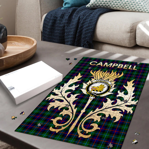 Campbell of Cawdor Modern Clan Name Crest Tartan Thistle Scotland Jigsaw Puzzle