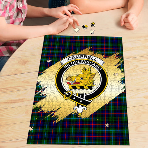 Image of Campbell of Cawdor Modern Clan Crest Tartan Jigsaw Puzzle Gold