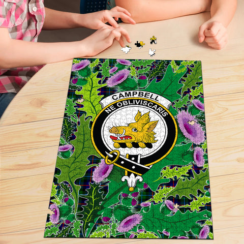 Campbell of Cawdor Modern Clan Crest Tartan Thistle Pattern Scotland Jigsaw Puzzle