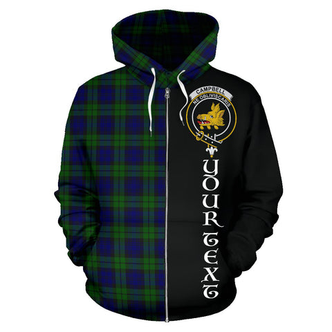 (Custom your text) Campbell Modern Tartan Hoodie Half Of Me TH8