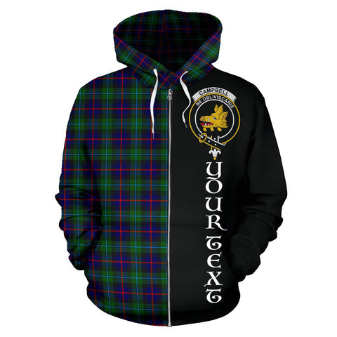 (Custom your text) Campbell of Cawdor Modern Tartan Hoodie Half Of Me TH8