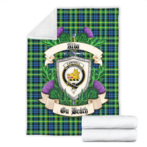 Campbell of Breadalbane Ancient Crest Tartan Blanket Thistle  | Tartan Home Decor | Scottish Clan
