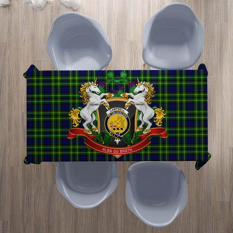 Campbell of Breadalbane Modern Crest Tartan Tablecloth Unicorn Thistle | Home Decor