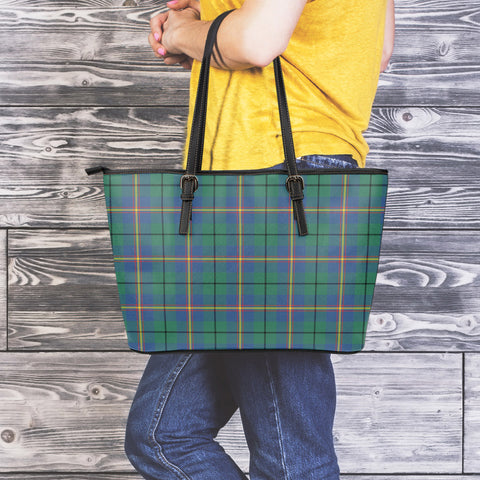 Carmichael Ancient Tartan Leather Tote Bag (Large) | Over 500 Tartans | Special Custom Design