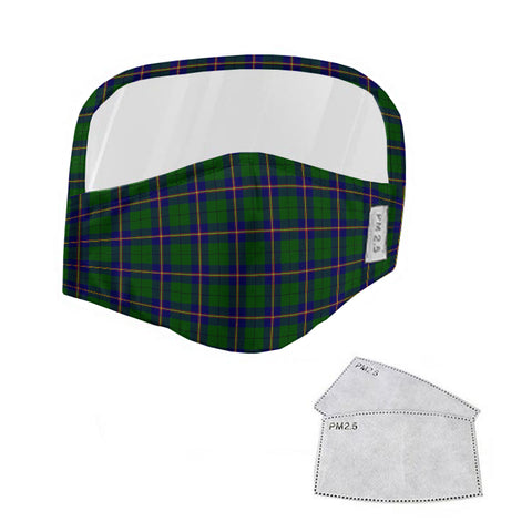 Carmichael Modern Tartan Face Mask With Eyes Shield - Blue & Green  Plaid Mask TH8
