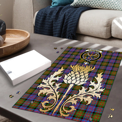 Carnegie Ancient Clan Crest Tartan Thistle Gold Jigsaw Puzzle
