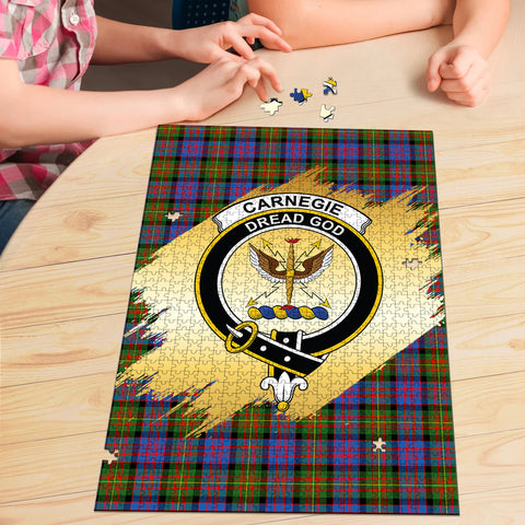 Image of Carnegie Ancient Clan Crest Tartan Jigsaw Puzzle Gold