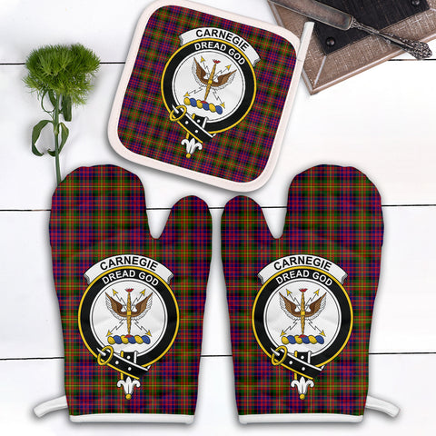 Carnegie Modern Clan Crest Tartan Scotland Oven Mitt And Pot-Holder (Set Of Two)