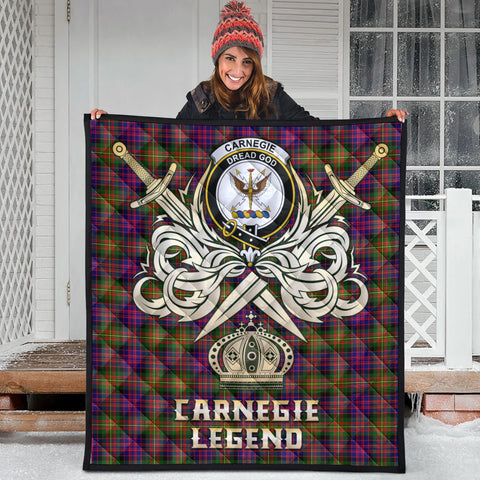 Carnegie Modern Clan Crest Tartan Scotland Clan Legend Gold Royal Premium Quilt