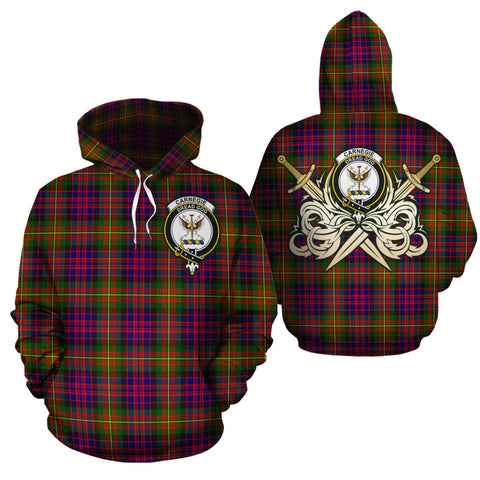 Carnegie Modern Clan Crest Tartan Scottish Gold Thistle Hoodie