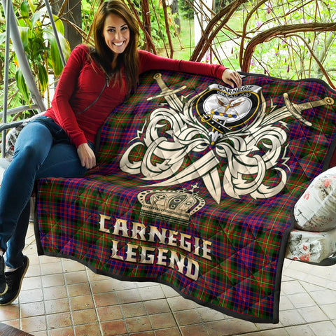 Carnegie Modern Clan Crest Tartan Scotland Clan Legend Gold Royal Premium Quilt K9