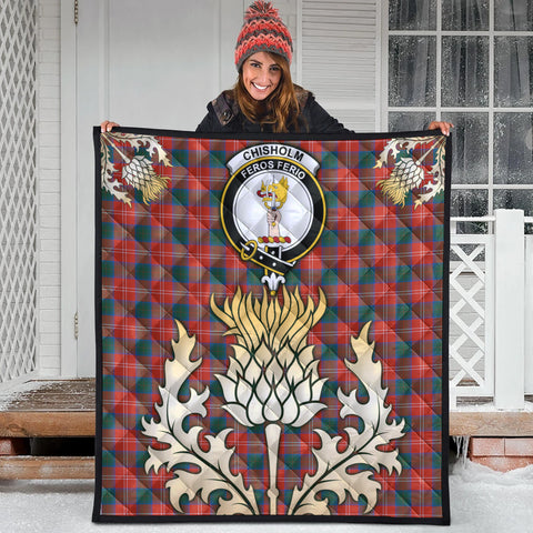 Image of Chisholm Ancient Clan Crest Tartan Scotland Thistle Gold Royal Premium Quilt