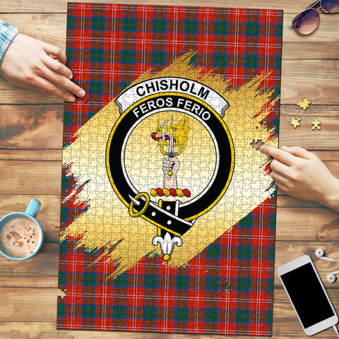 Chisholm Ancient Clan Crest Tartan Jigsaw Puzzle Gold
