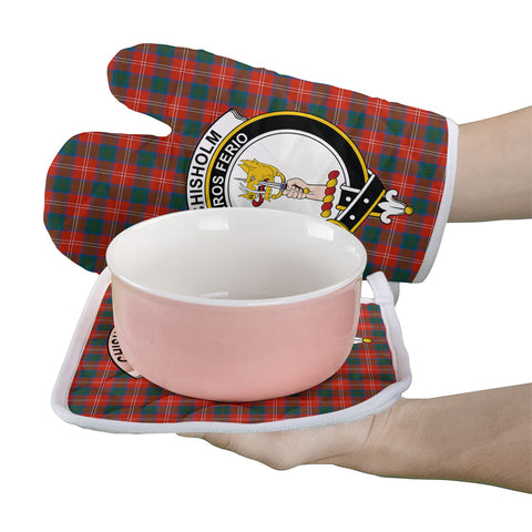 Chisholm Ancient Clan Crest Tartan Scotland Oven Mitt And Pot-Holder (Set Of Two)