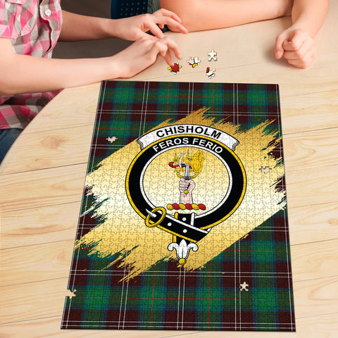 Chisholm Hunting Ancient Clan Crest Tartan Jigsaw Puzzle Gold