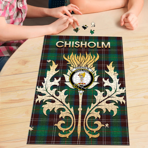 Chisholm Hunting Ancient Clan Name Crest Tartan Thistle Scotland Jigsaw Puzzle