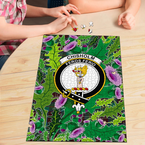 Chisholm Hunting Ancient Clan Crest Tartan Thistle Pattern Scotland Jigsaw Puzzle