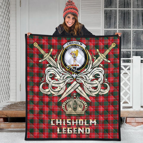 Chisholm Modern Clan Crest Tartan Scotland Clan Legend Gold Royal Premium Quilt