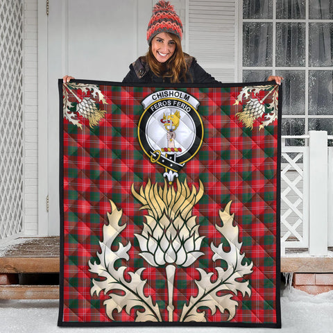 Chisholm Modern Clan Crest Tartan Scotland Thistle Gold Royal Premium Quilt