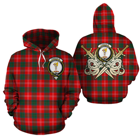 Chisholm Modern Clan Crest Tartan Scottish Gold Thistle Hoodie