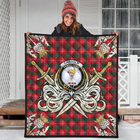 Image of Chisholm Modern Clan Crest Tartan Scotland Thistle Symbol Gold Royal Premium Quilt