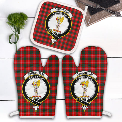 Chisholm Modern Clan Crest Tartan Scotland Oven Mitt And Pot-Holder (Set Of Two)
