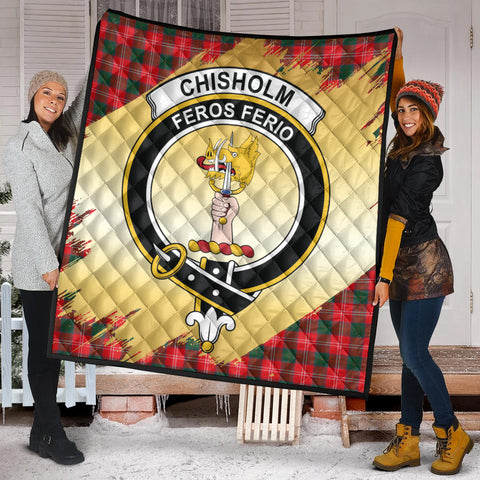 Image of Chisholm Modern Clan Crest Tartan Scotland Gold Royal Premium Quilt K9