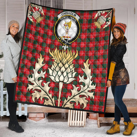 Chisholm Modern Clan Crest Tartan Scotland Thistle Gold Royal Premium Quilt K9