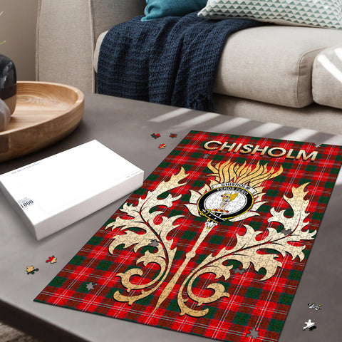 Image of Chisholm Modern Clan Name Crest Tartan Thistle Scotland Jigsaw Puzzle