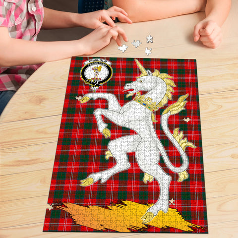 Image of Chisholm Modern Clan Crest Tartan Unicorn Scotland Jigsaw Puzzle