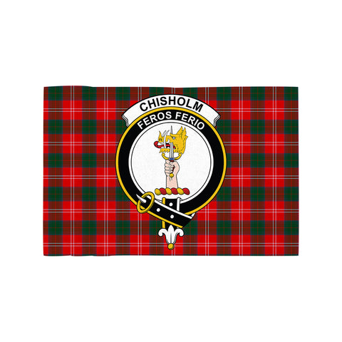 Image of Chisholm Modern Clan Crest Tartan Motorcycle Flag