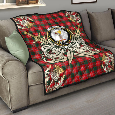 Image of Chisholm Modern Clan Crest Tartan Scotland Thistle Symbol Gold Royal Premium Quilt K9