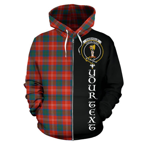 (Custom your text) Chisholm Ancient Tartan Hoodie Half Of Me TH8