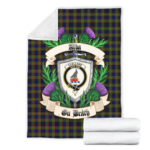 Clelland Modern Crest Tartan Blanket Thistle  | Tartan Home Decor | Scottish Clan