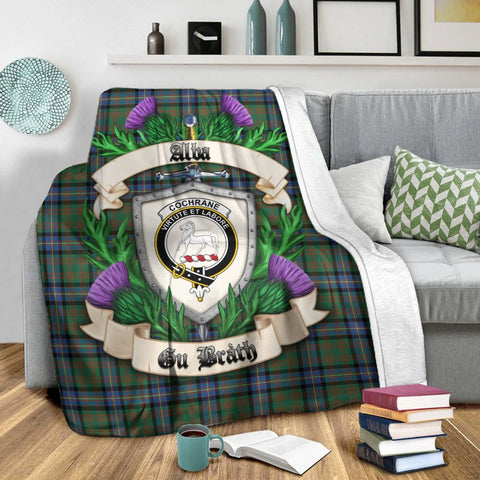 Cochrane Ancient Crest Tartan Blanket Thistle  | Tartan Home Decor | Scottish Clan