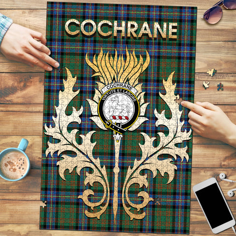 Cochrane Ancient Clan Name Crest Tartan Thistle Scotland Jigsaw Puzzle
